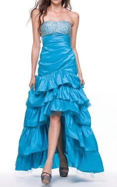 Taffeta Turquoise Dress Asymmetrical Ruffle Skirt Beaded Top Strapless $237.99