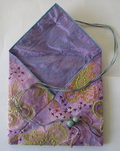 Digital Tutorial Mixed MediaTextile Purse by Jill by stitchnsew, Ribbon Embroidery Tutorial, Silk Ribbon Embroidery, Embroidery Designs, Embroidered Silk, Wool Applique, Applique Quilts, Fabric Art, Fabric Crafts, Diy Crafts