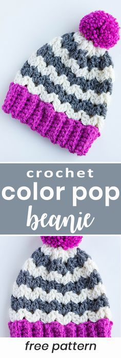Crochet the beginner friendly color pop chevron stripe pom pom beanie hat with this easy free crochet pattern!