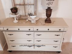 Vintage Dresser Buffet hand painted in chalk paint custom mix with gunmetal hardware.