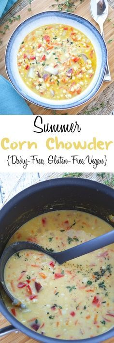 Fresh sweet corn is combined with fresh vegetables in this easy and delicious summer corn chowder. Coconut milk is used in place of cream, which makes this delicious chowder dairy free and vegan! #dairyfree #vegan