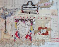 original altered textile & ephemera art, hand embroidery, vintage laces