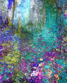 Items similar to Enchanted Forest floral art flower photograph wall art home office decor colorful bright blue and purple on Etsy Art Prints, Forest Art, Art Painting, Abstract Line Art, Abstract Canvas, Abstract Art For Sale, Abstract, Canvas Painting, Forest Painting