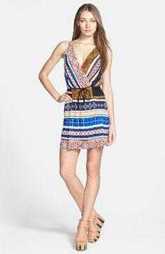 silk mini faux wrap dress