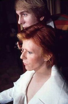 Bowie in makeup for Diamond Dogs TV commercial, New York, April 1974
