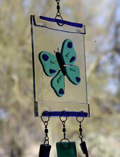 Fused Glass Butterfly Suncatcher or Windchime by SandrubiesStudio on Etsy https://www.etsy.com/listing/128624343/fused-glass-butterfly-suncatcher-or