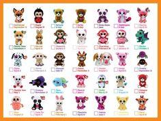 Beanie Boos Names, Beanie Boos List, Beanie Boo Dogs, Beanie Boo Party, Plastic Canvas Tissue Boxes, Plastic Canvas Patterns, Big Eyed Animals, Ty Peluche, Beanie Boos