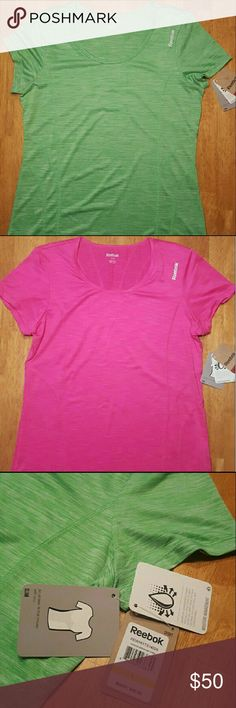 Two Womens Reebok athletic/workout tops (L) Both are brand new with tags. Both are size Large. Green  one is 100 % polyester. Pink is 92% polyester and 8% spandex. Both measure 24.5 inches long & 18.5 inches wide. The price is for both tops. Reebok Tops
