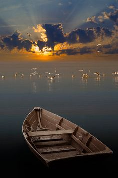 Morning Has Broken Like The First Morning - Wooden Row Boat with Gulls at Sunrise - A Seascape Boat Photograph Wooden Row Boat, Wooden Boats, Magic Places, Morning Has Broken, Morning Sunrise, Morning Light, Sunset Photos, Belle Photo, Wonders Of The World