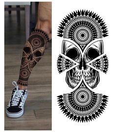 Maori Tattoo Designs, Skull Tattoo Design, Skull Tattoos, Animal Tattoos, Body Tattoos, Neck Tattoo For Guys, Leg Tattoo Men, Tattoos For Guys, Mandala Tattoo Leg