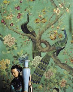 century hand-painted Chinese wallpaper, François-Joseph Graf, an apartment in Paris Et Wallpaper, Chinese Wallpaper, Chinoiserie Wallpaper, Chinoiserie Chic, Peacock Wallpaper, Wall Murals, Wall Art, Asian Decor, Designer Wallpaper
