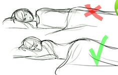 The exception is, draw the top one if your subject is in between lying on her back and on her side, but detail the figure so it's obvious that's what you're doing