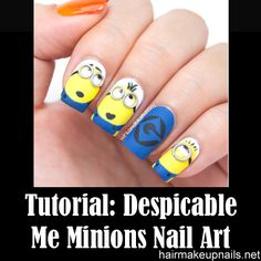 Despicable Me Minions Nail Art Tutorial ►► http://www.hairmakeupnails.net/despicable-me-minions-nail-art-tutorial/?i=p