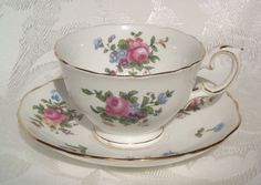 Crown Staffordshire Tea Cup and Saucer Dresden Spray Bone China Made in England