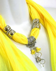 Scarf Charm Necklace Scarf Yellow Scarves by RavensNestScarfJewel, $23.00