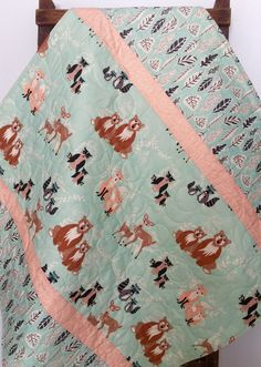 Baby Quilt, Gender Neutral, Reversible, Hello Bear, Fox, Raccoon, Owl, Leaf, Woodland, Deer, Mint, Coral, Crib Bedding, Baby Bedding, Child