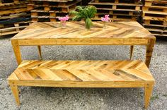 Chevron Pallet Table and Bench by LBHcozycreation on Etsy, $975.00