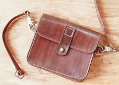 Vegetable tan leather fanny pack waist bag hip belly pouch by UnimiStore