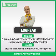 Meaning of Egghead explained through a picture. Egghead means 'An intellectual; Slang English, Learn English Grammar, Learn English Words, English Idioms, English Phrases, English Language Learning, English Lessons, English Reading, English Writing