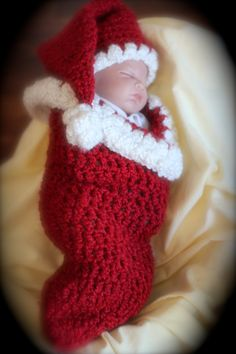 Christmas cocoon and santa hat -- PHOTO PROP for newborn boy or girl. $25.00, via Etsy.