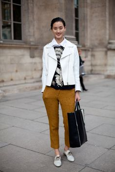 STREET STYLE SPRING 2013: PARIS FASHION WEEK - Boyish brogues bring this Teddy boy ensemble together.