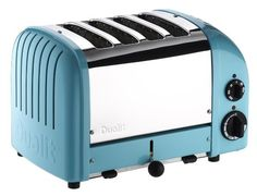 Dualit has upgraded its iconic toaster with a setting for buns and bagels and a defrost setting for frozen bread. What hasn't changed is the superlative quality and design that have made Dualit famous: each toaster is still hand-assembled Four Slice Toaster, Retro Toaster, Toaster Ovens, Cheap Toaster, Small Kitchen Appliances, Kitchen Gadgets, Kitchen Tools, Toaster, Shopping