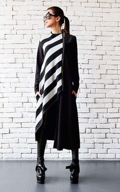 Half Striped Half Solid Overcoat For A Stylish Winter