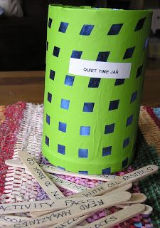 Quiet Time Jar: technique for helping kids find a quiet activity. Helpful during nap times.
