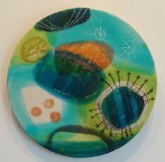'Jellyfish', encaustic by Nicki Stewart Nz Art, Jellyfish, Tableware, Artists, Medusa, Dinnerware, Tablewares, Artist, Place Settings
