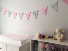 Pink And Grey Bunting Baby Decor Nursery Fabric Flag Banner Shower Nessa Foye