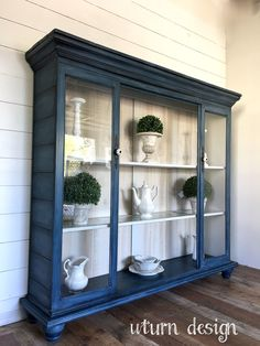 Navy blue China hutch with shiplap sides By uturn design