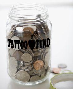 Custom Tattoo Fund Money Jar Vinyl Sticker by IslandCustomDesigns For my pink jar at work