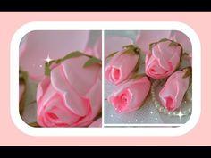 Como fazer lindos botões de rosa com fita de cetim - YouTube