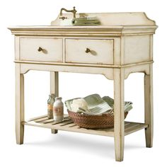 We love this bathroom vanity!  It has such a wonderfully weathered look and country style!