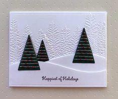 Simple Christmas Cards, Christmas Tree Cards, Stampin Up Christmas, Christmas Settings, Xmas Cards, Handmade Christmas, Holiday Cards, Christmas Diy, Stampinup Christmas Cards