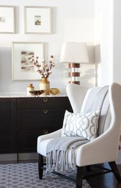 great chair with patterned pillow