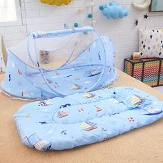 Cute Cartoon Sea Sailboat Folded Baby Mosquito Net For Cradle Kids Safety Mosquito Net For Babies