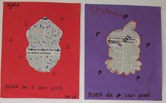 Teken een mal van Sint, piet of de boot in een krant en laat de kinderen de bijbehorende letters omcirkelen