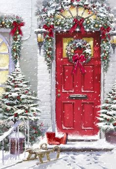 Magical Christmas Door Decoration Ideas You Must Try 05 Christmas Scenes, Christmas Door, Christmas Past, Winter Christmas, Christmas Crafts, Christmas Decorations, Magical Christmas, Christmas Costumes, Vintage Christmas Images