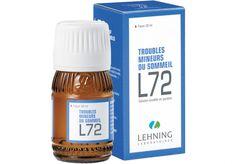 l72 trouble du sommeil est un médicament utilisé dans les troubles liés à l'anxiété et à l'hyperexcitabilité (émotivité, nervosité, troubles du sommeil). http://www.pharmacie-sante.com/l-72-lehning-solution-buvable-flacon-compte-gouttes-30-ml.html