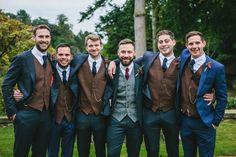 Him - Brown Harris Tweed Waistcoat + Navy Suit Country Groom Attire, Groomsmen Attire Navy, Groom Outfit, Tweed Wedding Suits, Blue Suit Wedding, Destination Wedding Groomsmen, Wedding Attire, Wedding Goals, Wedding Dreams
