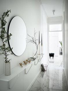 Narrow Hallway Decorating, Hallway Ideas Entrance Narrow, Hallway Mirror, Country Hallway, Hallway Closet, Long Hallway, Hallway Lighting, Home Entrance Decor, Entryway Decor
