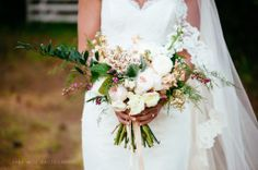organic wedding bouquet pink and white