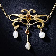 Art Nouveau Pearl and Citrine Necklace - 90-1-4597 - Lang Antiques