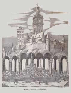 """Lithographie """"Mons à travers les siècles"""", exposée au café La Cervoise à Mons"""