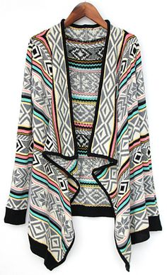 f6ed1bb97462 Shop Grey Collar Tribal Pattern Draped Front Cardigan online. SheIn offers  Grey Collar Tribal Pattern