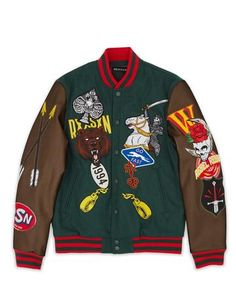 Wool exterior with PU sleeves and quilted satin interior lining, embroidered patches, full snap front closure, striped wool collar, cuffs and bottom hem. Fits true to size. Leather Varsity Jackets, Green Leather Jackets, Varsity Jacket Outfit, Streetwear Jackets, Nfl, Japanese Outfits, Sweater Jacket, Jacket Men, Urban Outfits