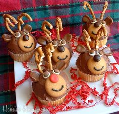 Reindeer cupcakes.... vanilla wafers {muzzle}, mini marshmallow slices & m's {eyes}, mini whoppers or m's {noses} & one red-nosed reindeer, looks like slices of caramel for ears... could also use mini vanilla wafers, broken thin pretzel antlers... so cute & easy!