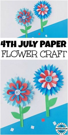 july paper flower craft with template. This is a fun craft idea. july paper flower craft with template. This is a fun craft idea. Patriotic Crafts, July Crafts, Summer Crafts, Holiday Crafts, Crafts For Kids To Make, Crafts For Girls, Art For Kids, Craft Activities, Preschool Crafts