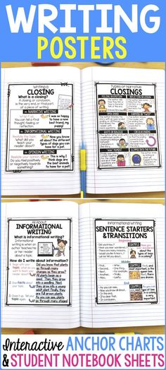 Writing Posters and Writing Anchor Charts! Perfect for interactive writing notebooks or introducing writing concepts in writer's workshop or writing centers. Posters include writing an opening and closing, writing about characters, describing a setting, o Expository Writing, Narrative Writing, Informational Writing, Teaching Writing, Opinion Writing, Paragraph Writing, Informative Writing, Report Writing, Teaching Time